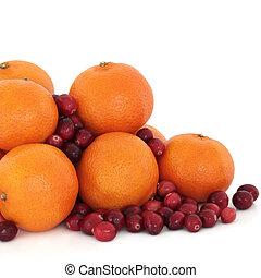 tangerina, e, arando, fruta