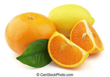 tangerina, e, limão