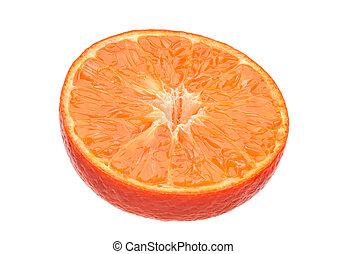 Tangerine citrus slice on white