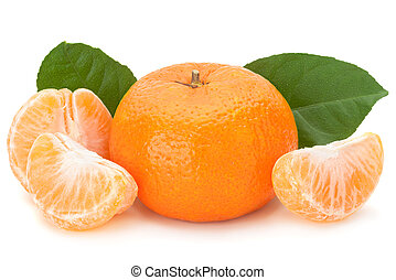 Tangerine fruit on white