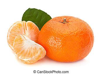 Tangerine fruit on white