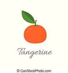 Vector illustration of tangerine icon in flat style with title, isolated on white background