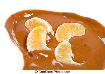Tangerine in chocolate
