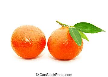 tangerine on white - tangerine isolated on a white...