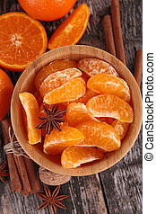 tangerine or mandarin fruit and spices