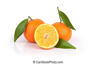 Tangerine oranges and one sliced isolated on white...