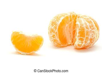 tangerine - Peeled tangerine isolated on the white...