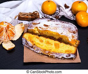 tangerine pie sprinkled with powdered sugar
