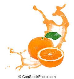 Tangerine splash - Photo of tangerine with slice and splash...