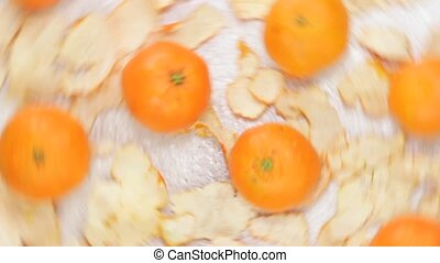 tangerine oranges in a row fresh fruit