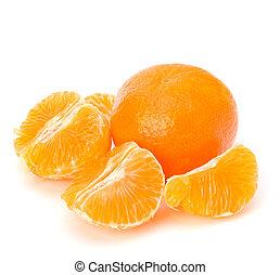 Tangerine isolated on white background close up
