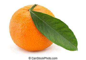 Tangerine tropical fruit on white