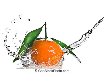 Tangerine with green leaves and water splash isolated on...