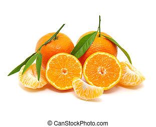 tangerine with leaf. mandarin isolated on white