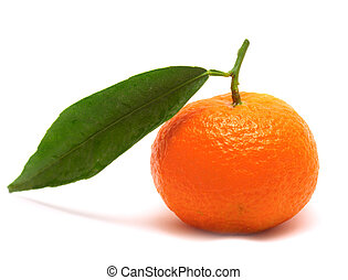 Tangerine with one leaf isolated over white