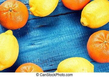 tangerines, coloridos, cítrico, quadro, -, limões, frutas