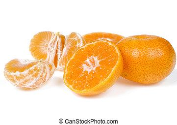 Fresh sweet tangerines isolated on white background