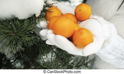 Tangerines in palms against background of winter landscape.
