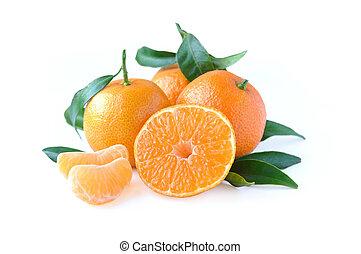 Tangerines isolated on white background