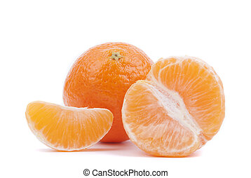 Tangerines on a white background.