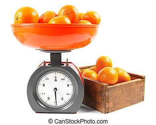 Tangerines on scales and in a box