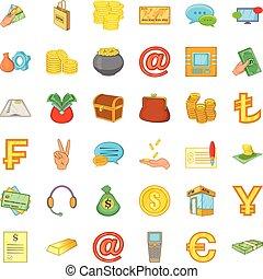 Tangible asset icons set, cartoon style - Tangible asset...