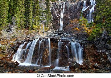 Tangle Falls - Jasper Park - Scenic view of Tangle Falls at...