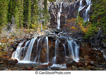 Scenic view of Tangle Falls at Jasper National Park of Canada.