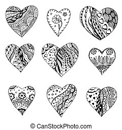 Set of hand drawn monochrome hearts in Tangle Patterns style. Pattern for coloring book. Coloring page for adult anti stress. Made by trace from sketch. Valentine's day background.