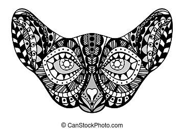 stylized Cat Face - Tangle Patterns stylized Cat Face,...