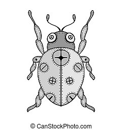 bug doodle - Tangle Patterns stylized gray bug doodle. Hand...