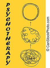 Tangle tangled and untangled. Abstract metaphor, concept of solving problems in Psychotherapy
