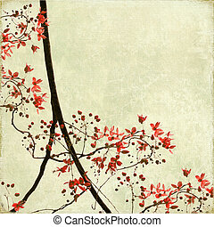 Tangled Blossom Border on Antique Paper and Bamboo Textured ...