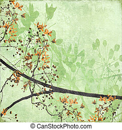 Tangled Blossom Border on Antique Paper and Bamboo Textured...