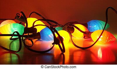 Christmas lights on - tangled Christmas lights on