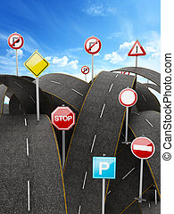 Tangled, crowded, chaotic roads and traffic signs. 3D illustration