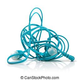tangled earphones isolated on white