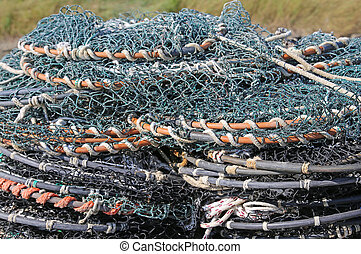 tangled fishing nets used by fishermen when fishing on the ocean