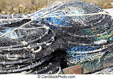 fishing nets used by fishermen when fishing on the seas