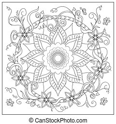 tangled flowers and butterflies in the circle - Hand drawn...