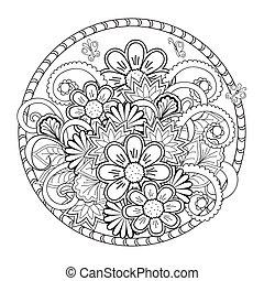 tangled flowers in the mandala - Hand drawn tangled flowers...