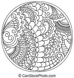 tangled mandalas and shapes in the circle - Hand drawn...