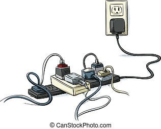 Cartoon power cords and bars combined in a tangle.