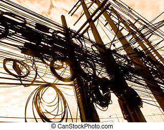 Tangled power lines.