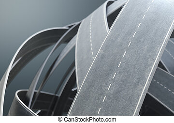 Tangled roads and highways in a chaotic. The concept of an intricate road that has no end and no beginning. Labyrinth of roads, traffic congestion. 3D illustration