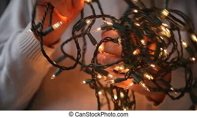 tangled white Christmas lights