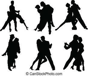 tango, bailarines, siluetas