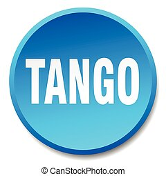 tango blue round flat isolated push button