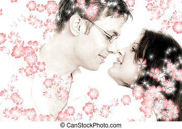 tango, con, flores rojas