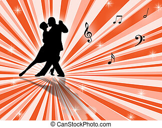 Tango - Couple dancing a tango on a star-burst background